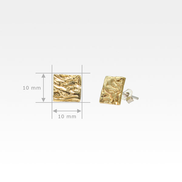 Beech Bark Square Stud Earrings Medium Measurements
