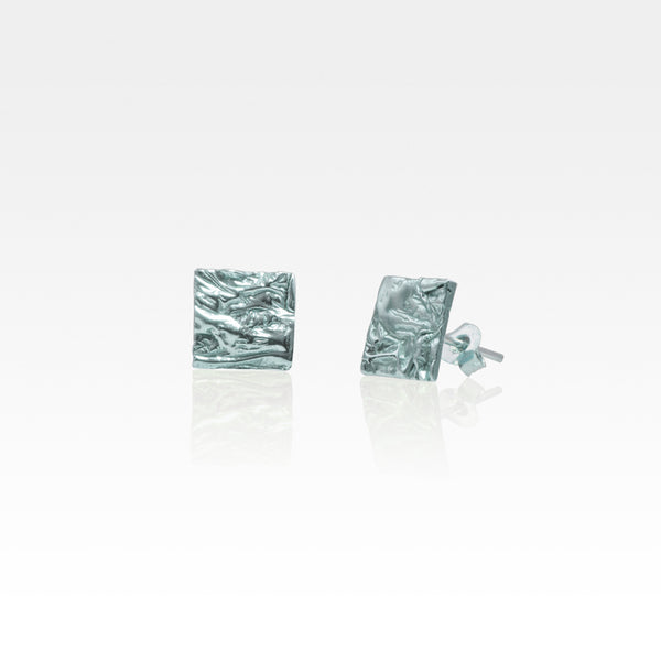 Beech Bark Square Stud Earrings Medium Silver