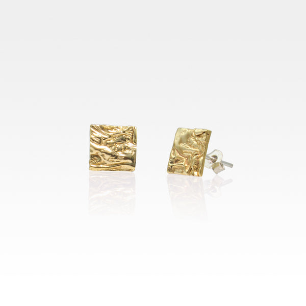 Beech Bark Square Stud Earrings Medium