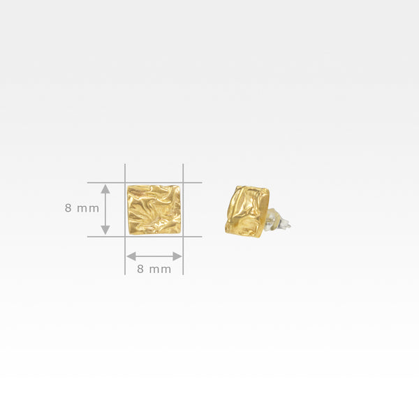 Beech Bark Square Stud Earrings Small Measurements