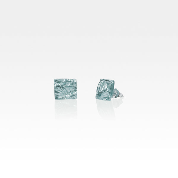 Beech Bark Square Stud Earrings Small Silver