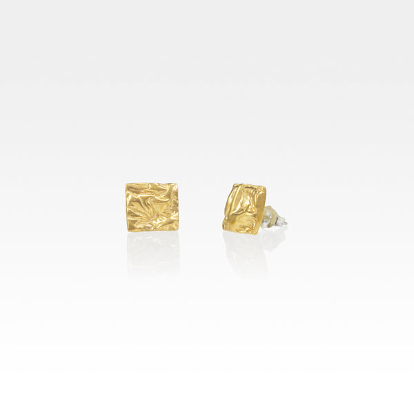 Beech Bark Square Stud Earrings Small
