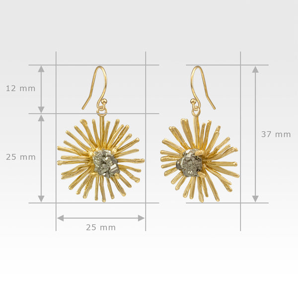 Chrysanthemum Drop Earrings Measurements