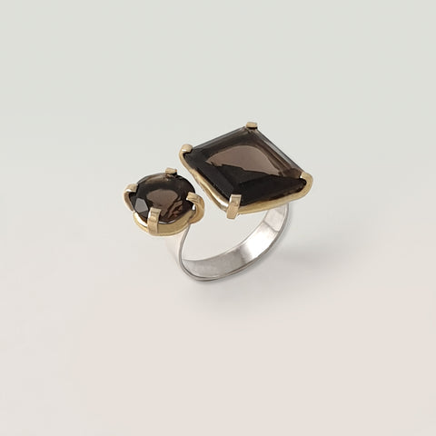 Double Smoky Quartz Ring