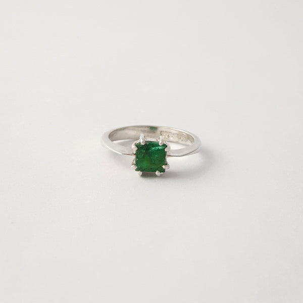 Multi-Facet Emerald Ring Silver Limited Edition 1
