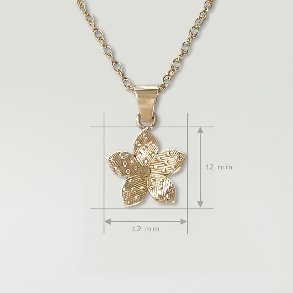 Forget-Me-Not Pendant Gold Measurements