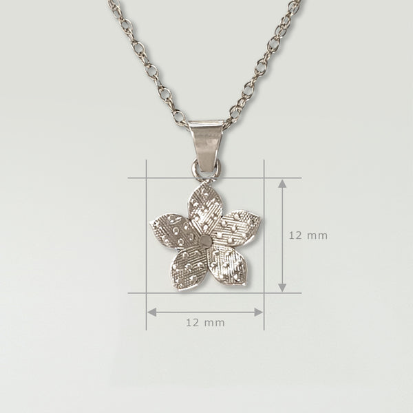 Forget-Me-Not Pendant Silver Measurements