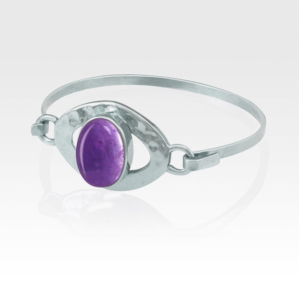 Hammered Bangle Amethyst Silver