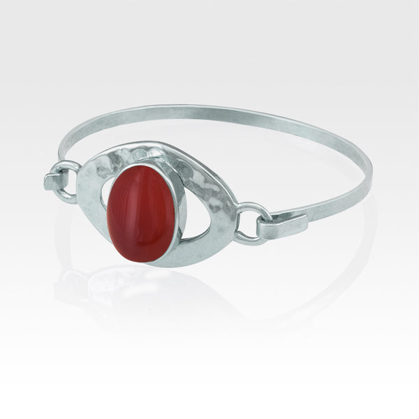 Hammered Bangle Carnelian Silver