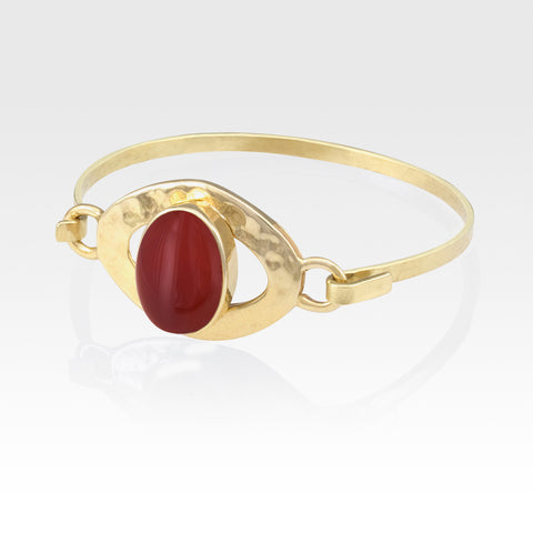 Hammered Bangle Carnelian