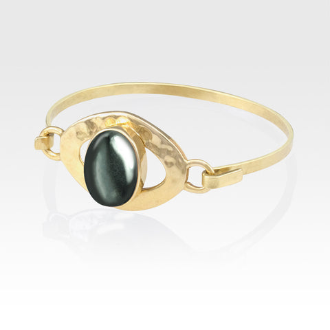 Hammered Bangle Hematite