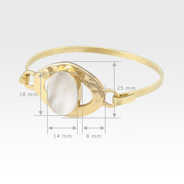 Hammered Bangle Mother of Pearl Shell Measurements