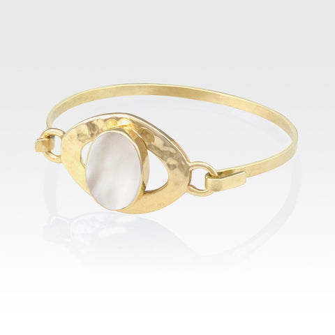 Hammered Bangle Mother of Pearl Shell