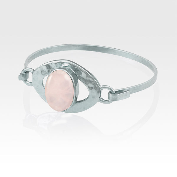 Hammered Bangle Quartz Rose Silver