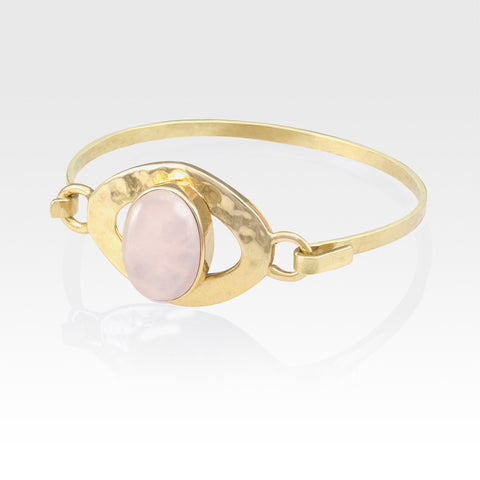 Hammered Bangle Quartz Rose
