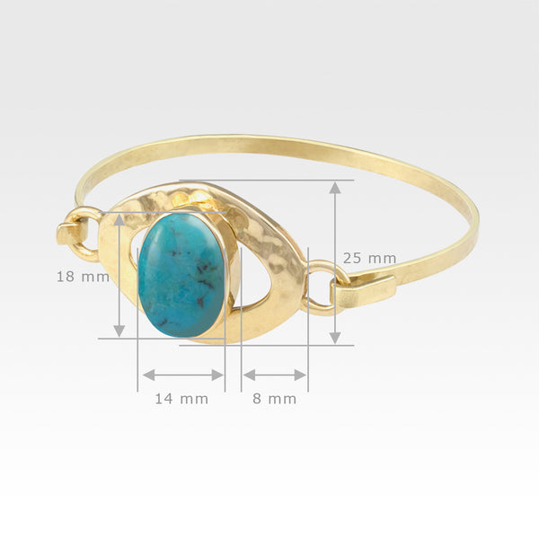 Hammered Bangle Turquoise Measurements