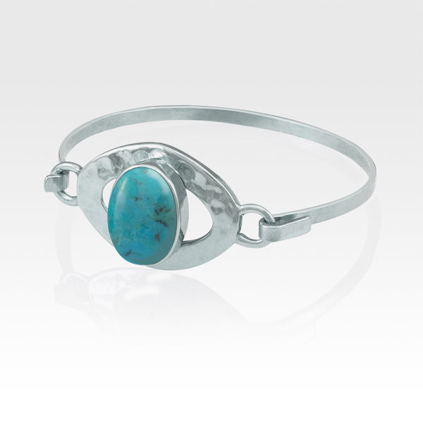 Hammered Bangle Turquoise Silver