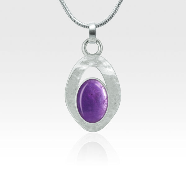 Hammered Pendant Amethyst Silver