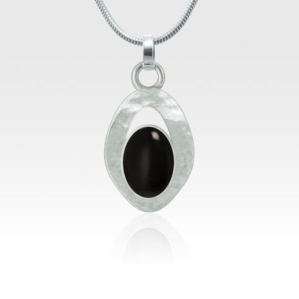 Hammered Pendant Onyx Black Silver