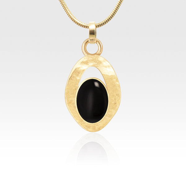 Hammered Pendant Onyx Black