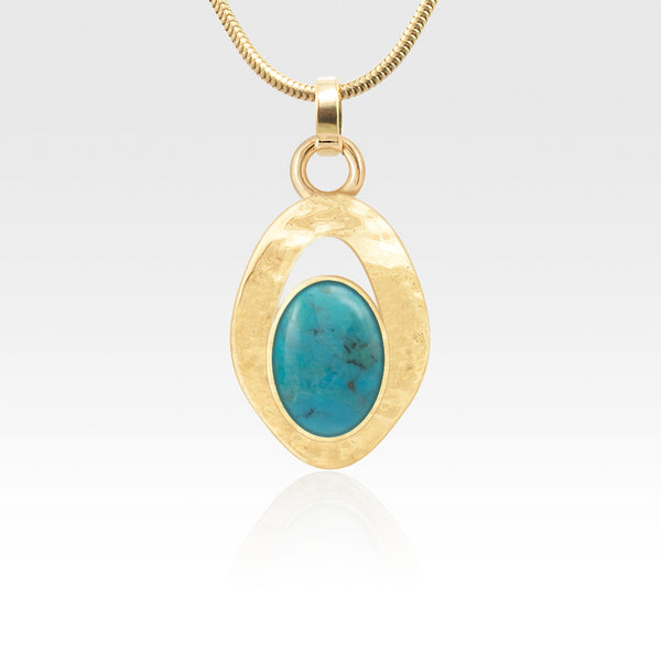 Hammered Pendant - Turquoise