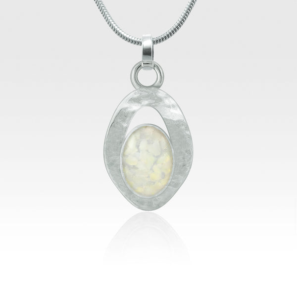 Hammered Pendant Vintage Glass White Silver