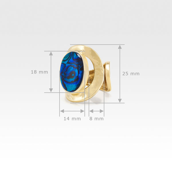 Hammered Ring Abalone Blue Measurements