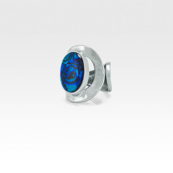 Hammered Ring Abalone Blue Silver