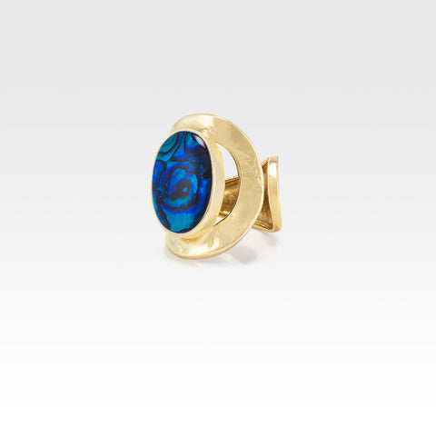 Hammered Ring Abalone Blue