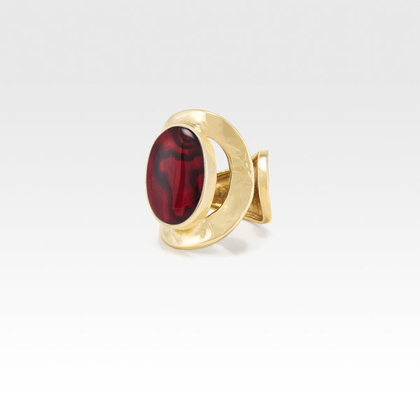 Hammered Ring Abalone Red