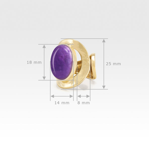 Hammered Ring Amethyst Measurements