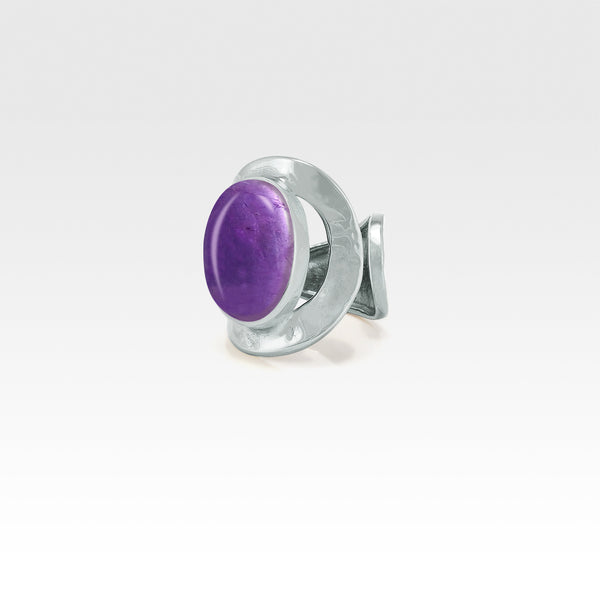 Hammered Ring Amethyst Silver