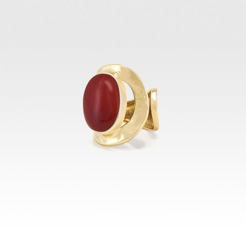 Hammered Ring Carnelian