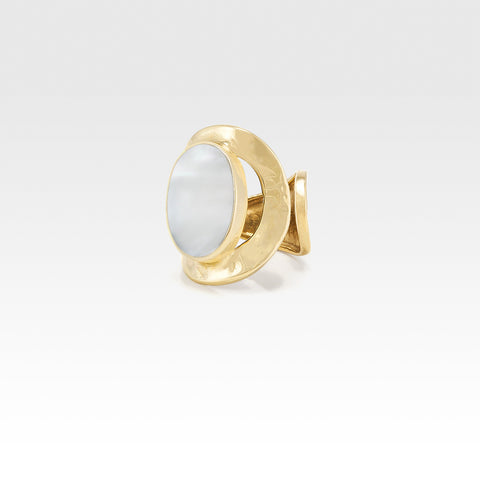 Hammered Ring Mother of Pearl Shell