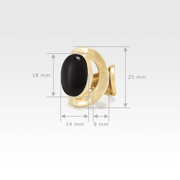 Hammered Ring Onyx Black Measurements