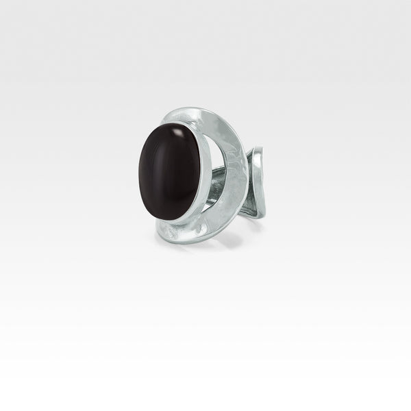Hammered Ring Onyx Black Silver