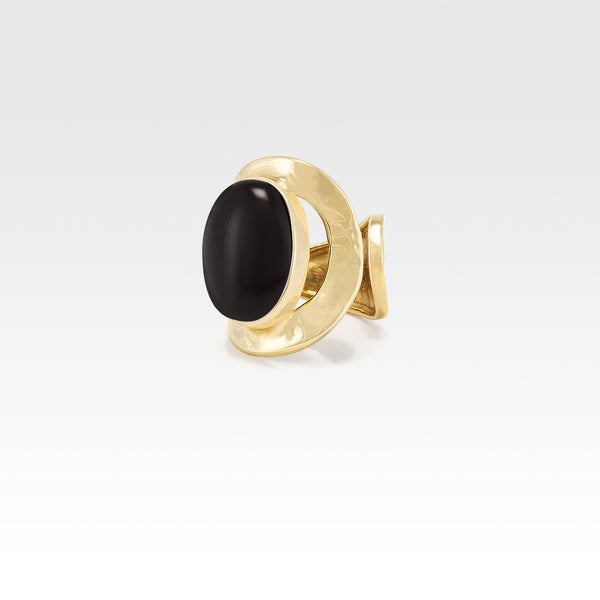 Hammered Ring Onyx Black