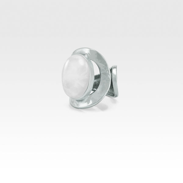 Hammered Ring Quartz Clear Silver
