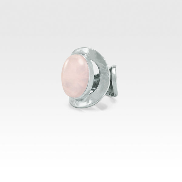 Hammered Ring Quartz Rose Silver