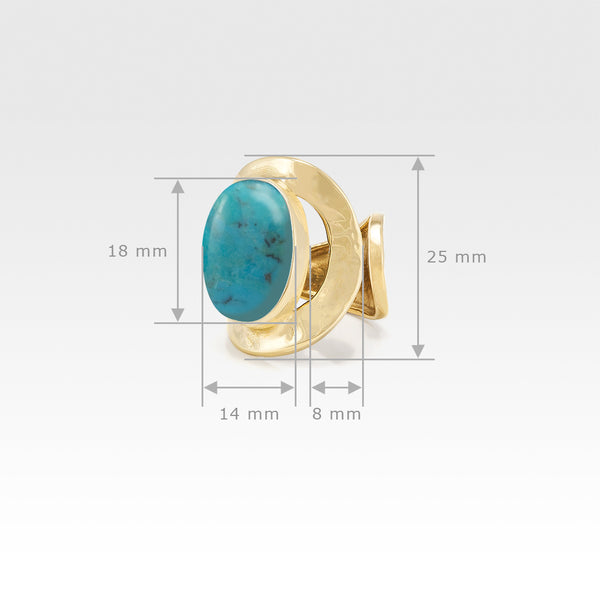 Hammered Ring Turquoise Measurements