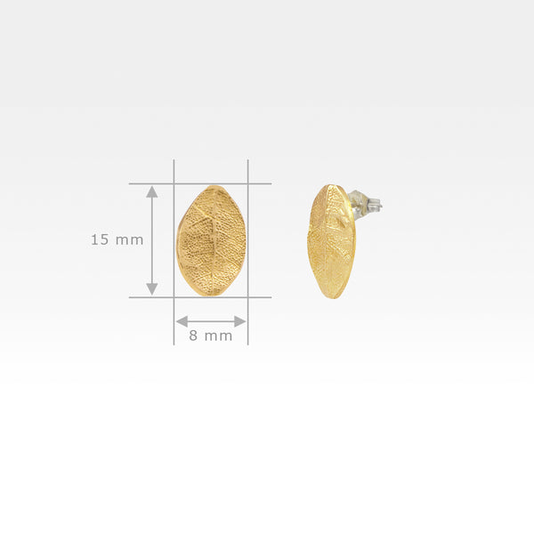 Laurel Leaf Stud Earrings Measurements