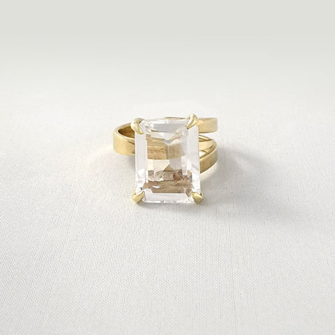 Multi-Facet Clear Quartz Rectangle Ring Limited Edition 1