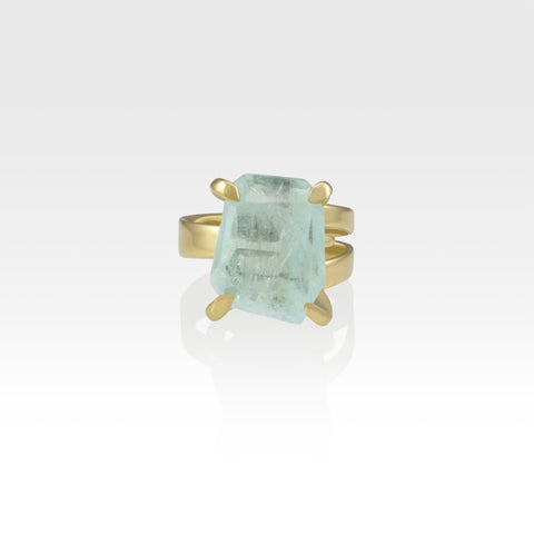 Multi-Facets Aquamarine Ring