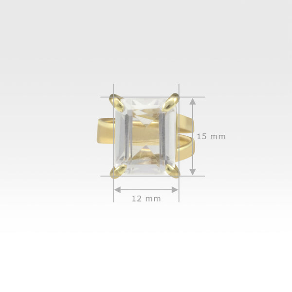 Multi-Facets Clear Quartz Rectangular Ring Measurements