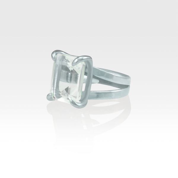Multi-Facets Clear Quartz Rectangular Ring Silver Side View