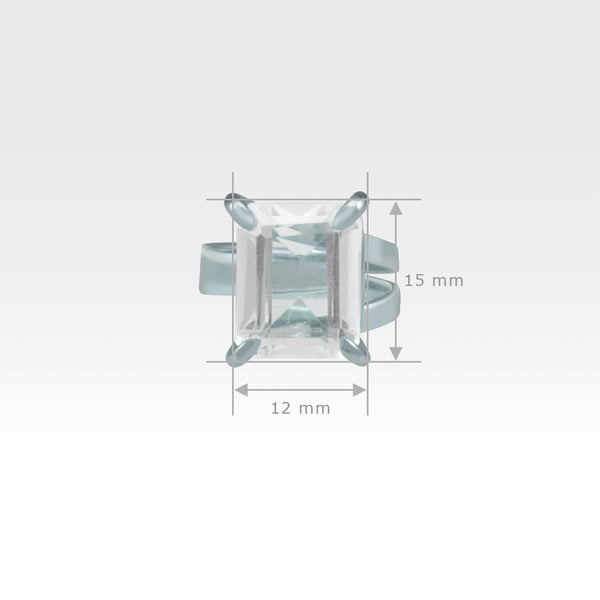 Multi-Facets Clear Quartz Rectangular Ring Silver Measurements