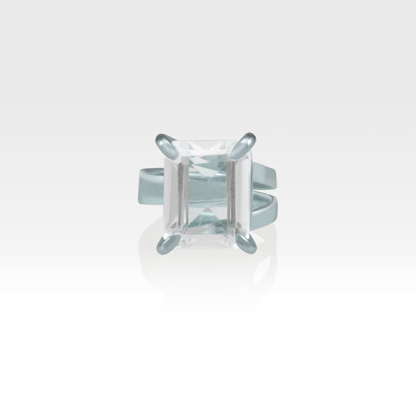 Multi-Facets Clear Quartz Rectangular Ring Silver
