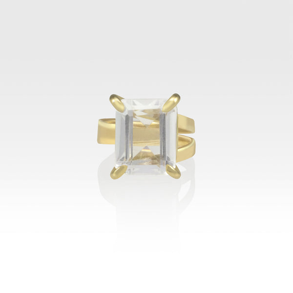 Multi-Facets Clear Quartz Rectangular Ring
