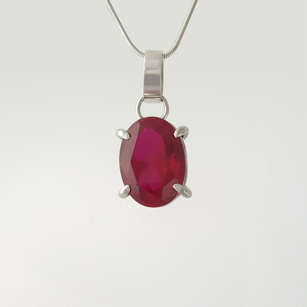 Multi-Facet Ruby Silver Pendant
