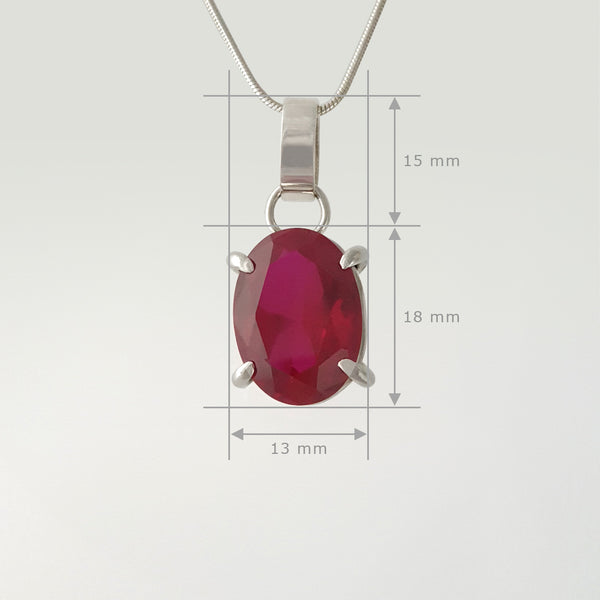 Multi-Facet Ruby Silver Pendant Measurements